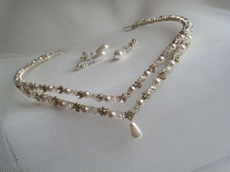 Handmade swarovski wedding  bridal forehead headband tiara circlet brow band…