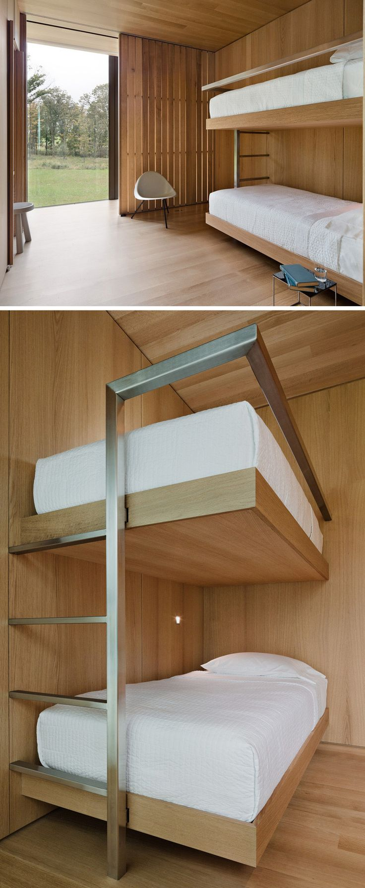 Wood, white & steel bunk beds.