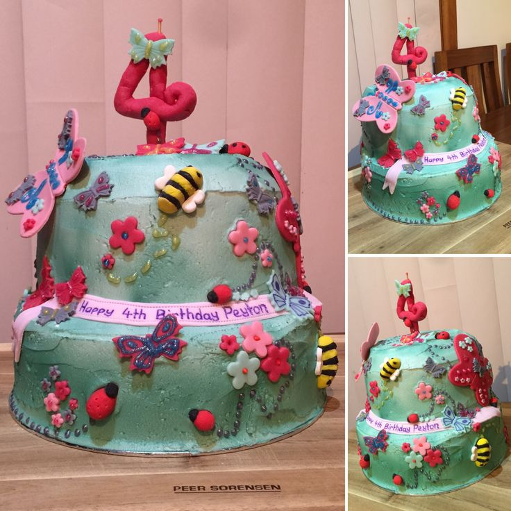 Butterfly garden cake for my niece's 4th birthday.
