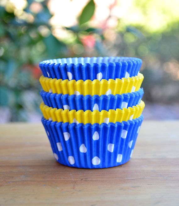 Yellow and Blue Polka Dot Cupcake Liners  Set of by MyLittleOtter