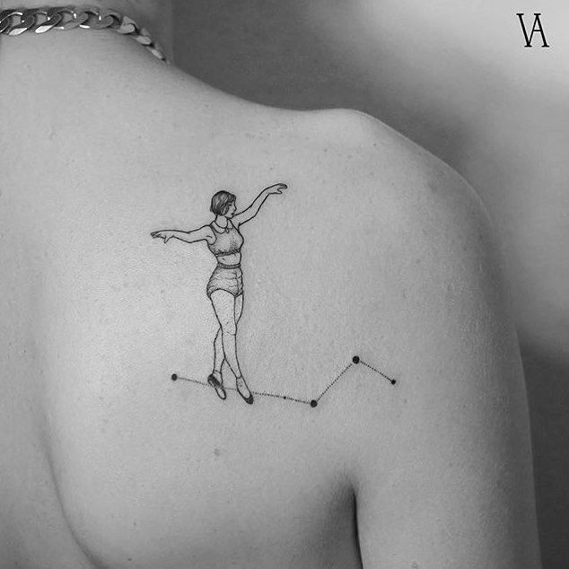 Beautiful Balancing Act Tattoo | Circus Girl | Tight Rope | Outer Space | Stars | Constellations | Black Outline Ink