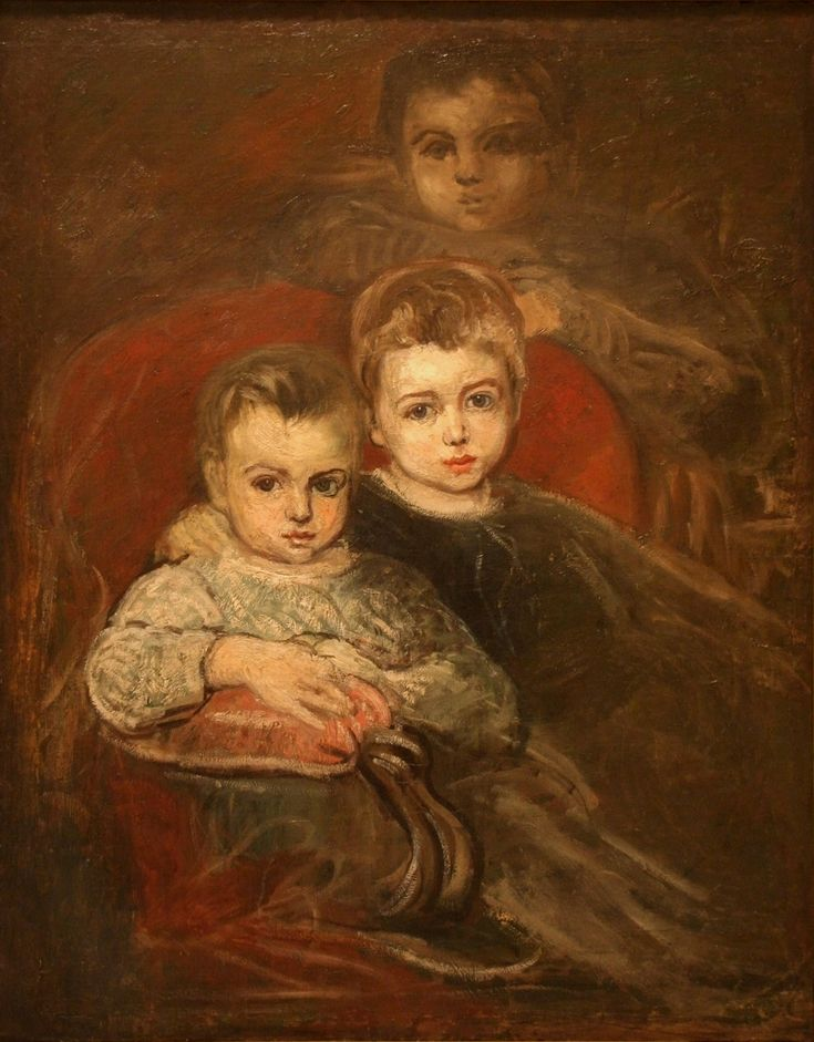 Karel Purkyně - Artist's children (1868) #realism #painting #art #Czechia