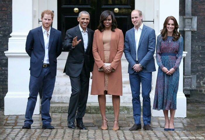 President Barack Obama and First Lady Michelle Obama greeted by Prince William, Duchess Kate and Prince Harry outside Kensington Palace.