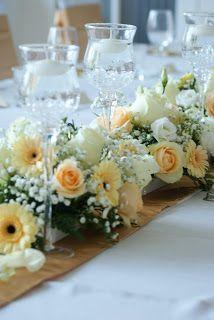 arany esküvői dekoráció Amaltheia Manufaktúra virág és dekoráció - arany-barack asztaldísz
