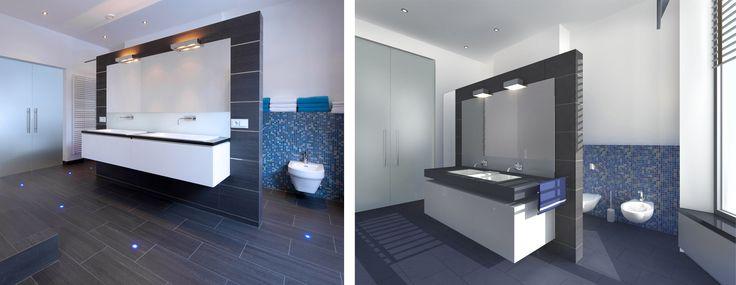 Ontwerp badkamer voor stadsvilla te Roermond. Rechts het ontwerp in een 3D visual, links de uitvoering als foto