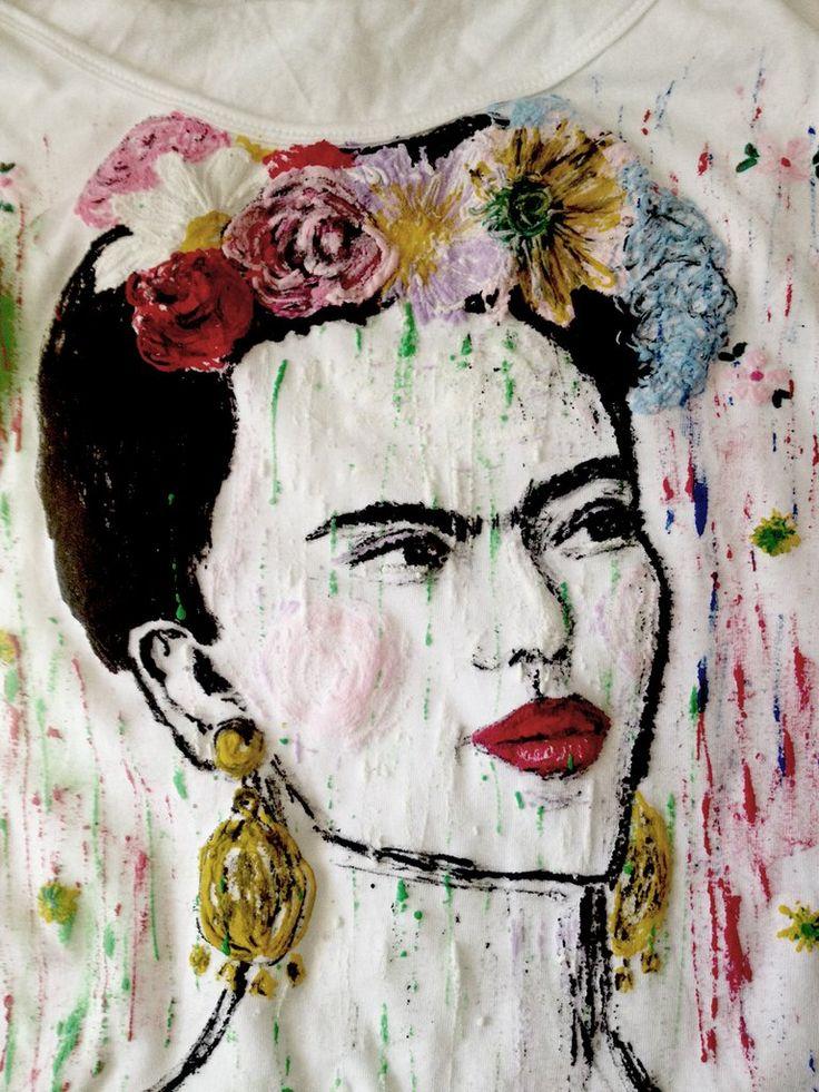 #FridaKahlo T Shirt Painted #Frida ART TO WEAR Camiseta Pintada Mexico Shirt Original Frida Portrait