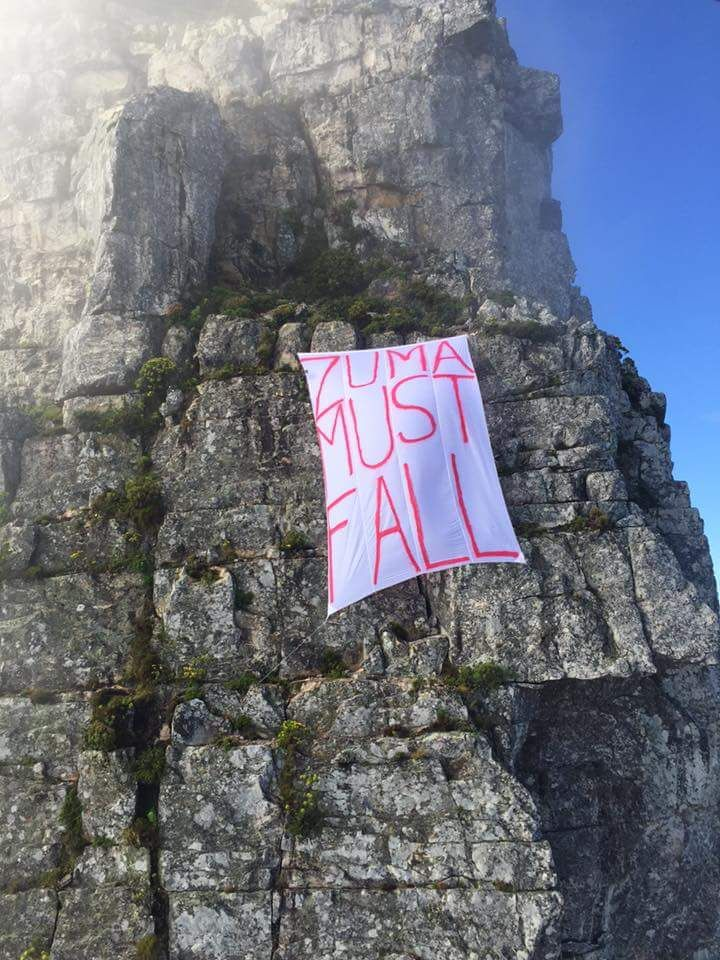 A zuma must fall banner on Table Mountain...how cool is that !!!