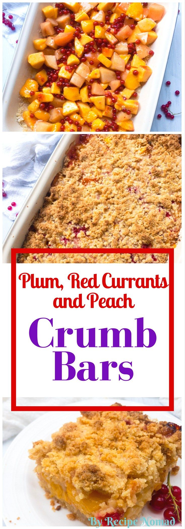 You are going to fall in love with this Plum, Red Currants and Peach Crumb Bars! The crumble is super easy and made in a food processor and the fresh fruit is perfect!
