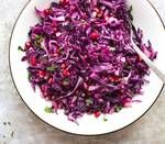 Red cabbage when lightly roasted softens just slightly while releasing a subtle sweetness and keeping most of its crunch. Recipe and image courtesy of Sherrie Castellano.