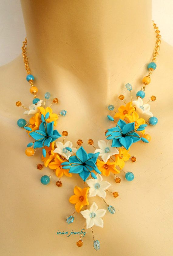 #Turquoise jewelry  3Flower necklace  Spring jewelry by insoujewelry