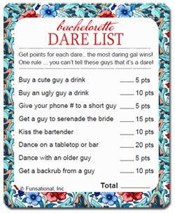Dare list hens night | Bridal shower/hens | Pinterest ...