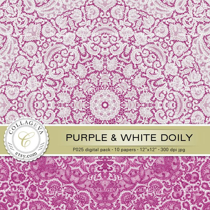 """Purple & White Doily (P025) Digital Pack 10 Printable Paper 12x12"""" Lace Crochet, Romantic Shabby Chic Scrapbook Paper, Magenta Pink by collageva on Etsy"""