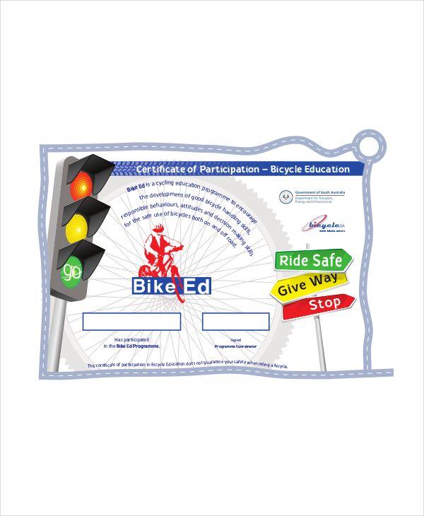 Participation Bike Riding Certificate