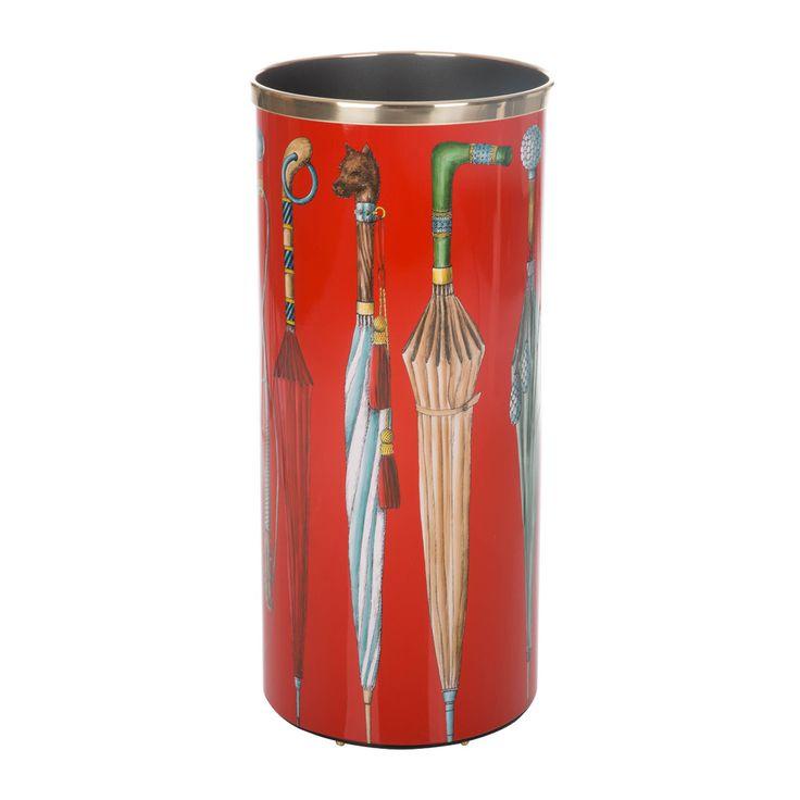 Discover the Fornasetti Ombrelli e Bastoni Umbrella Stand - Red at Amara