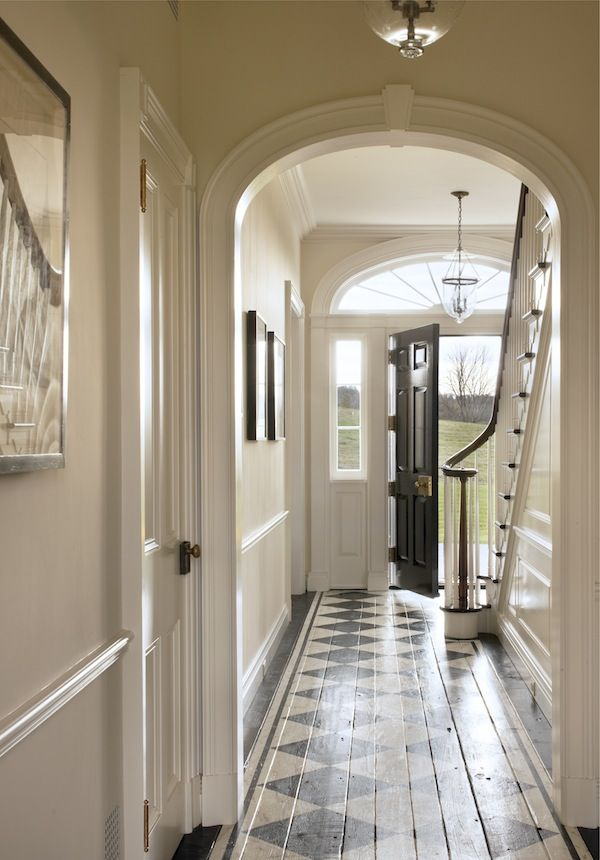 Farmhouse Entry Painted Hardwood Floors John B Murray Love The Arched Doorways