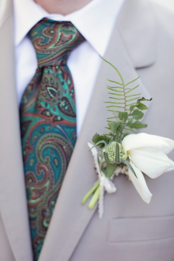 Paisley + boutonniere - Music-Themed Fairytale Wedding captured by Brandon Kidd - via ruffled