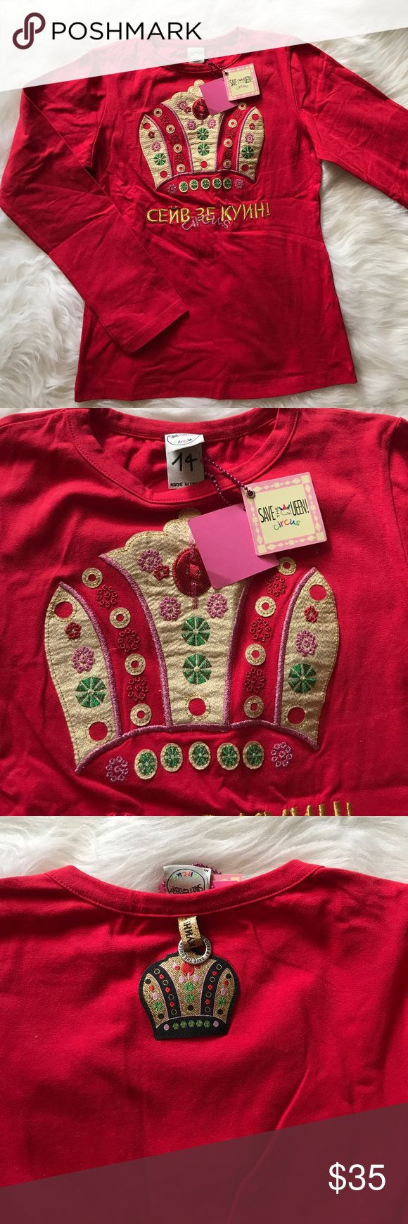 """NWT Amazing Red Save The Queen Girls Top sz 14 XS Very rare and hard to find red long sleeve top by Save The Queen. Purchased in Europe few years ago. New with tags and is size 14 kids but could easily fit XS or Small adult. Armpit to armpit: 15"""". Overall length from shoulder: 21"""". Sleeves: 22"""".      Clearing out my daughter's closet! Bundle and save! Save The Queen Shirts & Tops Tees - Long Sleeve"""