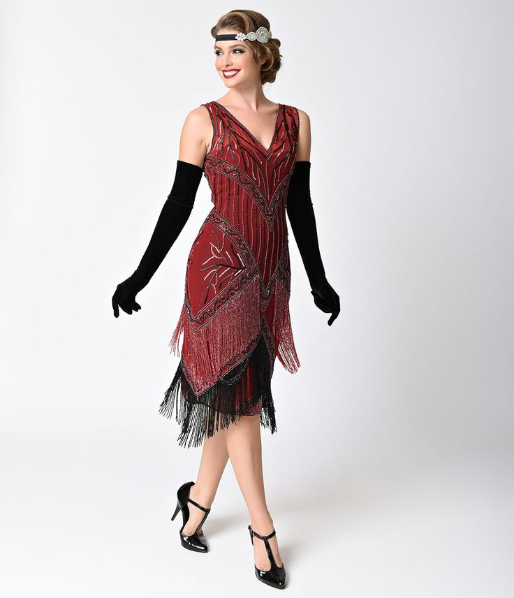 1920s Style Dresses Unique Vintage 1920s Style Burgundy Black Beaded Remarque Fringe Flapper Dress $248.00 AT vintagedancer.com