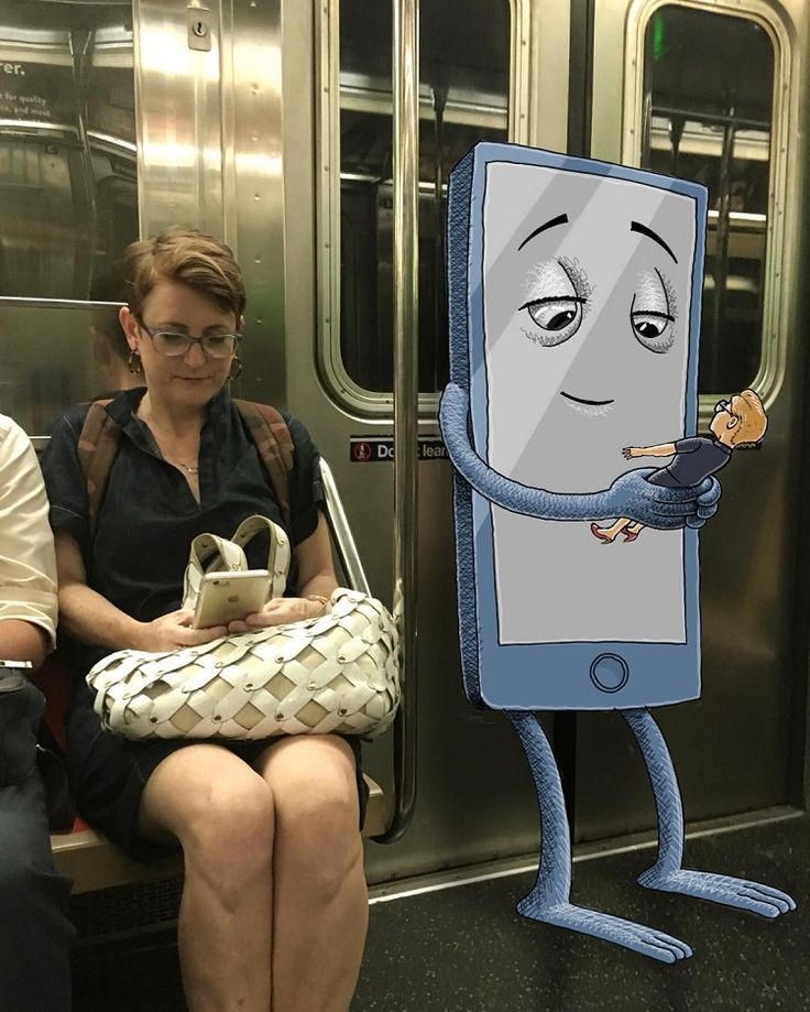 Artist Adds Cute and Creepy Monsters to Photos of People on New York Subway…