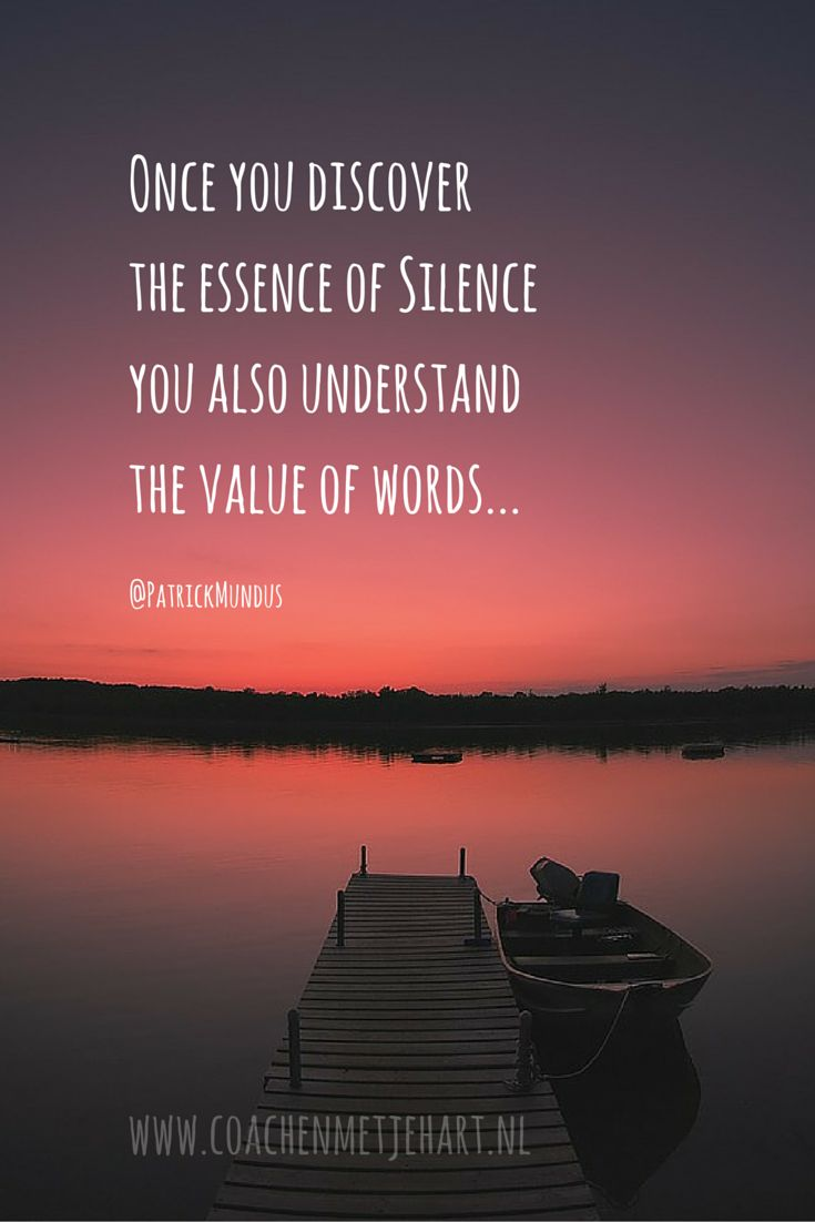 Once you discover the essence of Silence, you also understand the value of words...
