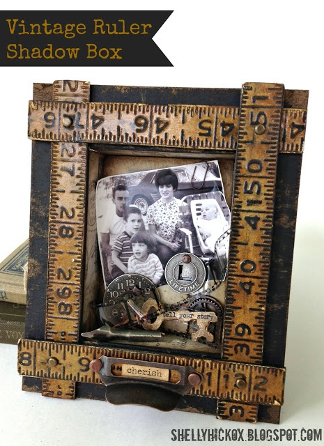 Stamptramp: Sizzix Project - Vintage Father's Day Shadow Box created with @Tim Holtz dies and Texture Fades.