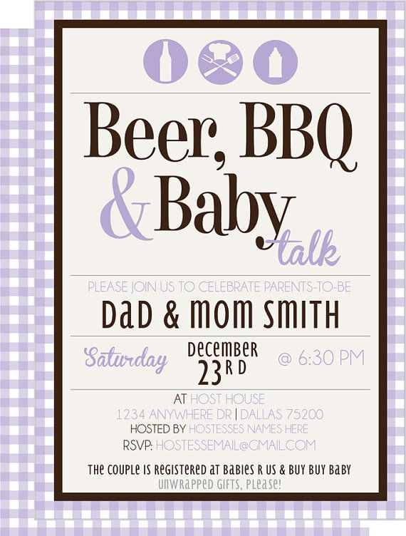 Beer BBQ U0026 Baby Talk CoEd Baby Shower Invite By KateOGroup On Etsy, $15.00