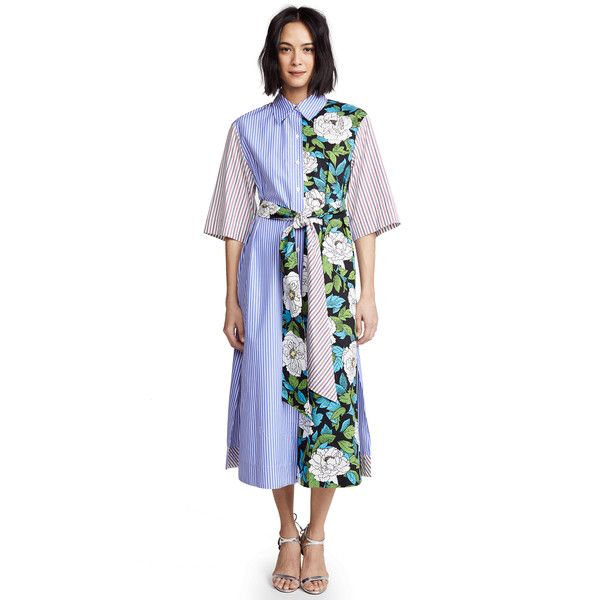 Diane von Furstenberg Belted Shirtdress (5 375 ZAR) ❤ liked on Polyvore featuring dresses, boswell ivory, white dress, 3 4 sleeve midi dress, button shirt dress, white collar dress and ivory midi dress