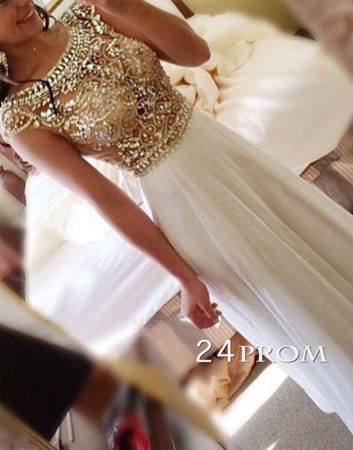 A-line Round Neck Rhinestone sequins Long Prom Dresses, Evening Dresses #prom #promdress #whiteprom #longprom