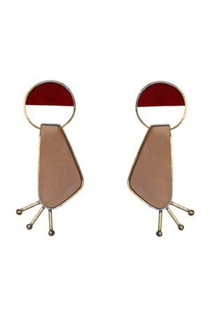 RED AND NUDE EARRINGS