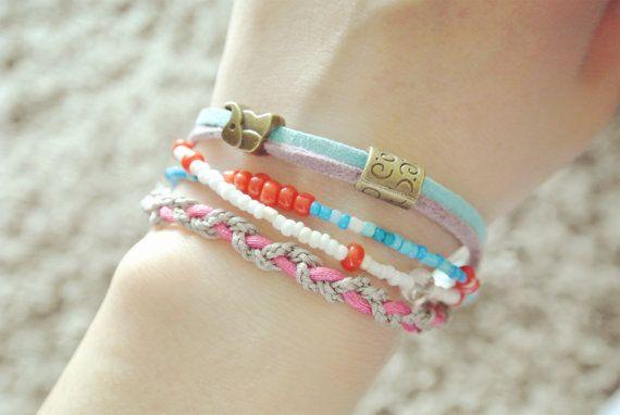 wrap beaded charm bracelet ethnic bracelet with elephant charm Bohemia style faux suede bracelet