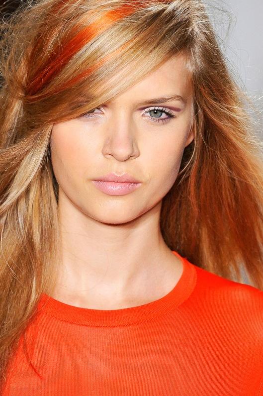 Orange streaks in hair