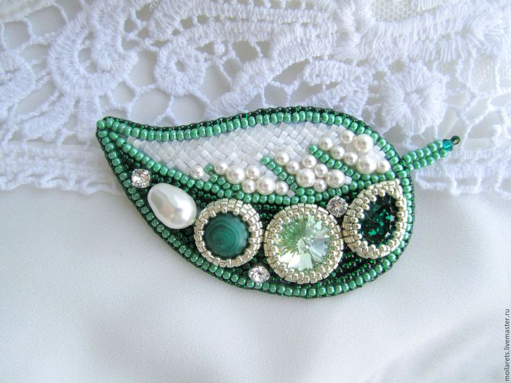 Купить Зеленая брошь ЛИСТИК - зеленый, крупная брошь, зеленая брошь, брошь купить
