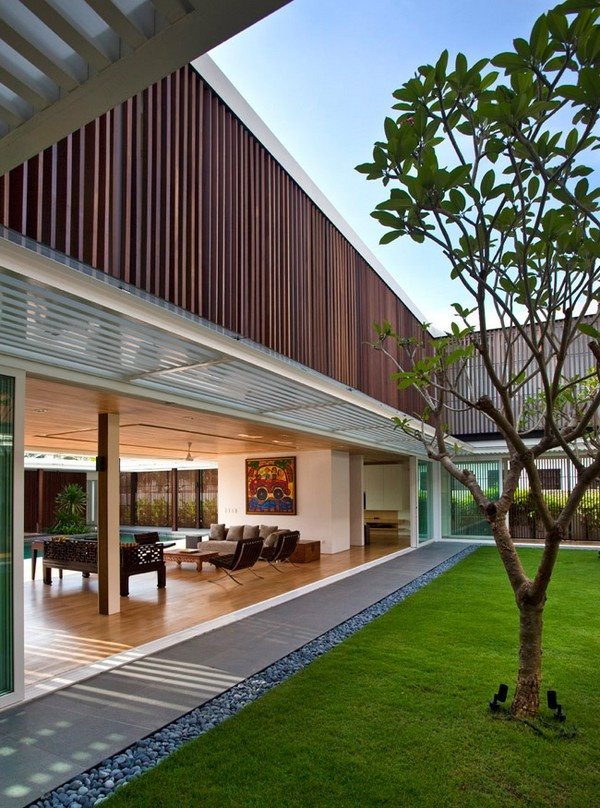 Interior architecture designs in the home garden with wood concept. Build a room in the house who internalize space areas such as pools and gardens. Zoning maid's room and place on the second floor and basement, the ground plane that is released to combine public and private programs in the wide open spaces.