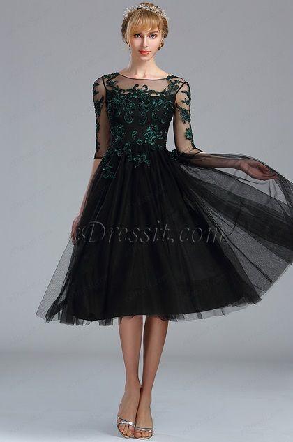 eDressit Black Half Sleeves Lace Appliques Cocktail Dress (04170400)