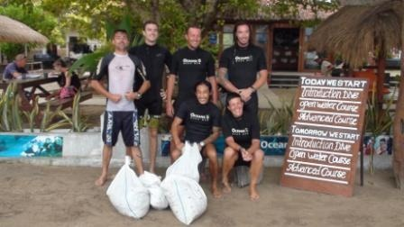 another reef and beach clean up at Oceans 5 dive resort Gil Air, Gili Islands, Indonesia