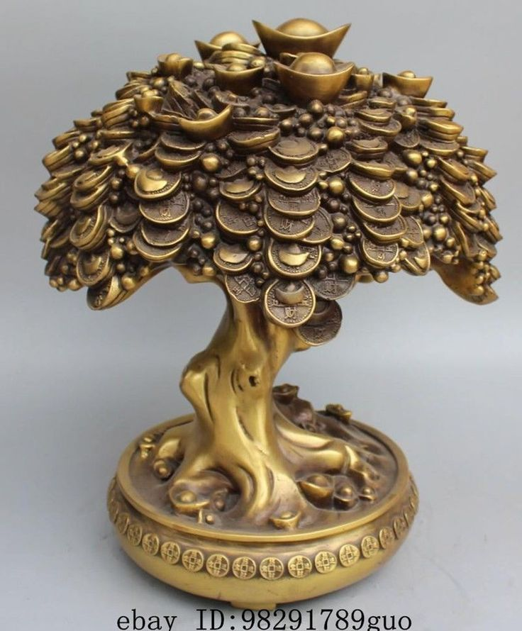 "16""Chinese Feng Shui Bronze Wealth Money Yuanbao Treasure Bowl Money Tree Statue 