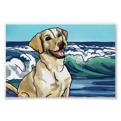 Labrador Retriever Playing at Hawaii Beach Poster - artists unique special customize presents