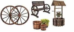 NEW WOODEN WAGON WHEELS , BENCH , WHISKEY BARREL PLANTERS & WISHING WELL GARDEN DECOR
