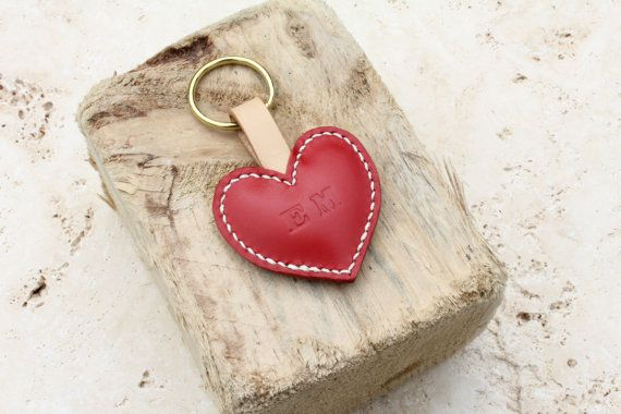 Handmade red leather heart keyring with solid by JosieFayLeather