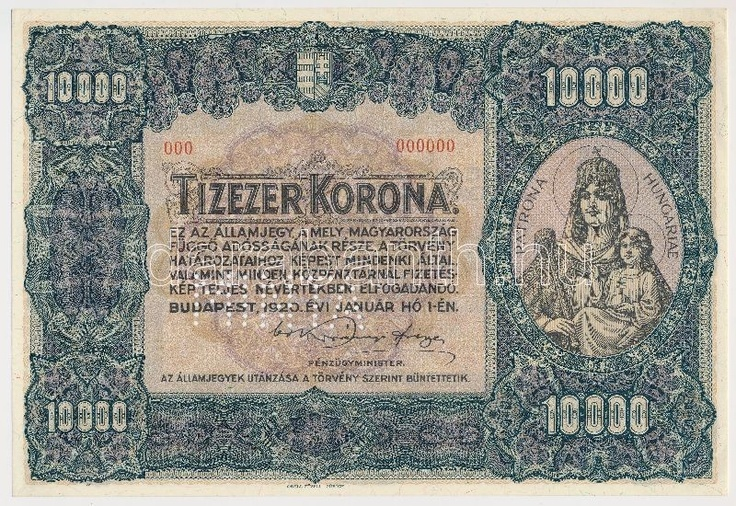 Hungary 1920. 10.000 Korona with MINTA (specimen) perforation and with red 000 - 000000 serial numbers C:UNC,AU R!  Adamo K41M1a  Dealer Darabanth Auctions  Auction Minimum Bid: 40000.00 HUF (app. 152 EUR)