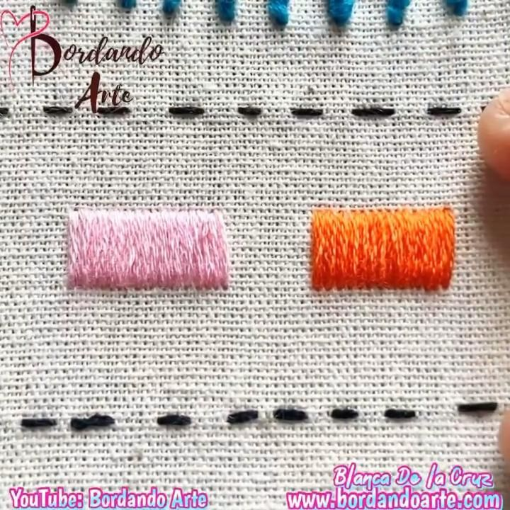 Mira el tutorial completo en mi canal de YouTube: Bordando Arte Diy Embroidery Shirt, Hand Embroidery Videos, Embroidery Stitches Tutorial, Embroidery Sampler, Creative Embroidery, Simple Embroidery, Learn Embroidery, Hand Embroidery Designs, Embroidery Techniques