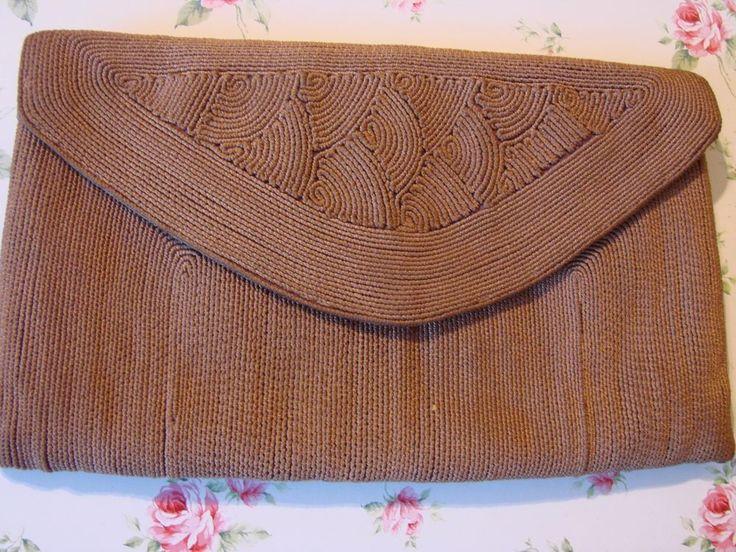 Genuine rare vintage 1940s Corde brown clutch bag lovely   | eBay