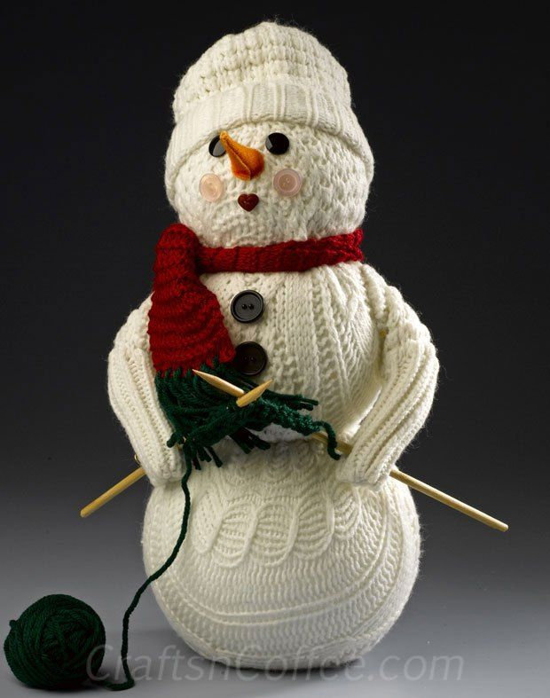 DIY this Knitting Snowman from an old sweater and Styrofoam balls! Love this. CraftsnCoffee.com.