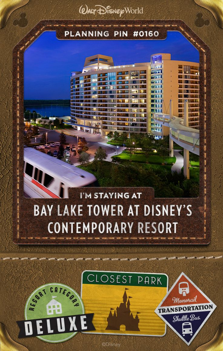 Walt Disney World Planning Pins: Enjoy white-sand beaches, enchanting pools and award-winning dining—plus the extensive offerings of Disney's Contemporary Resort, connected by the convenient Sky Way Bridge.