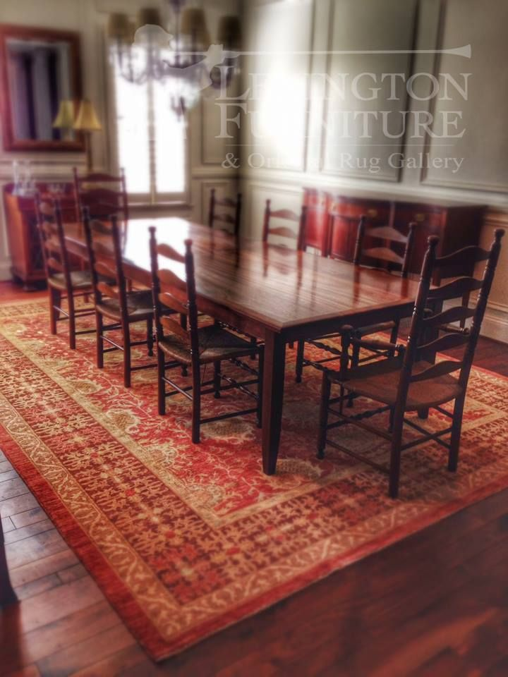 Colored Afghani Hand Spun Wool Vegetable Dyed Red Oriental Rug Had The Perfect Old World Look And Texture To Compliment This Custom 10 Dining Table