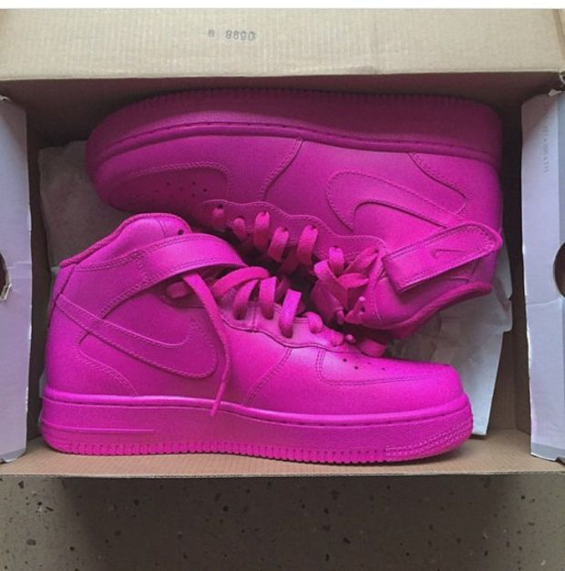 online retailer 0bf7c 86150 ... authentic pink mid nike air force 1 authentic nike custom pink painted air  force ones things