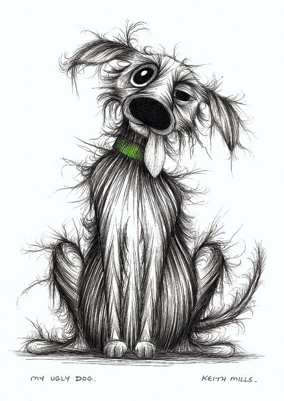My ugly dog Horrible smelly scruffy pet pooch Original hand drawn picture via Etsy