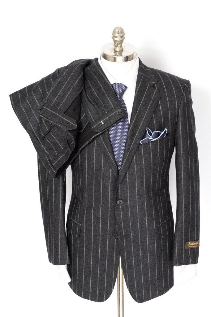 Classic style, in this SOUTHWICK Gray Pinstripe Flannel Super 100's 2Btn Flat Front Suit!  |  Find yours! http://www.frieschskys.com/suits  |  #frieschskys #mensfashion #fashion #mensstyle #style #moda #menswear #dapper #stylish #MadeInItaly #Italy #couture #highfashion #designer #shopping