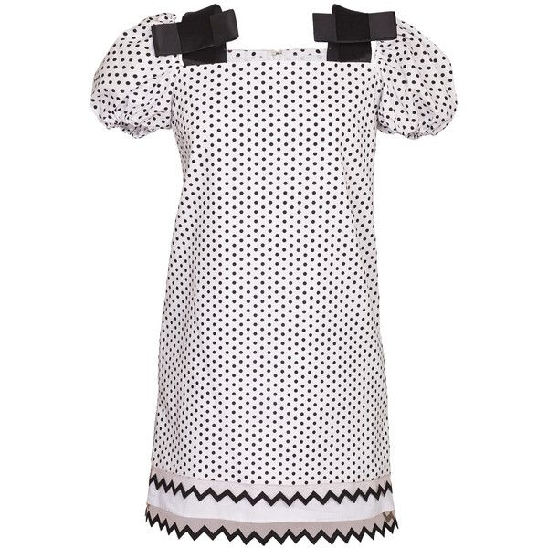Yanina Demi Couture Polka Dot Cold Shoulder Mini Dress ($865) ❤ liked on Polyvore featuring dresses, white, cold shoulder dress, white polka dot dress, short dresses, polka dot dress and white dress