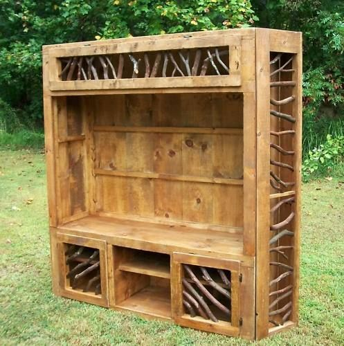 Rustic Entertainment Center Log Home Cabin Furniture in Home & Garden | eBay